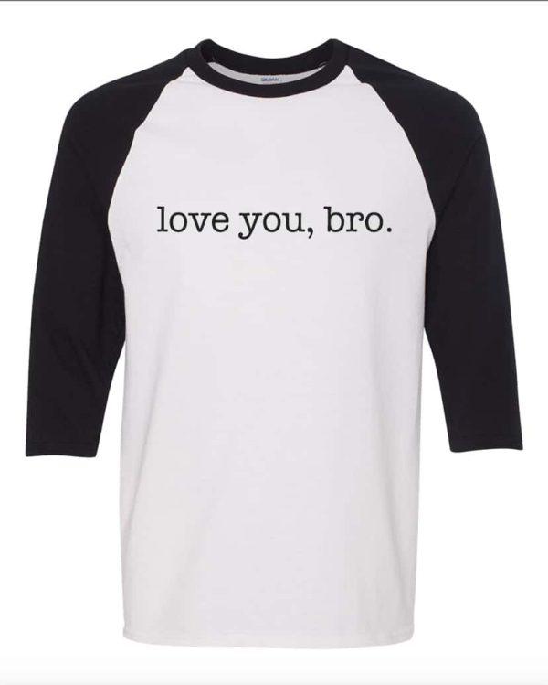 Love you bro, 3/4 length baseball tee mockup